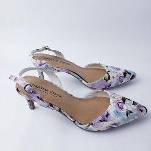 Floral pointed toe strap back heels